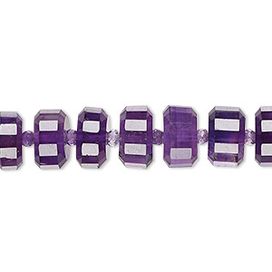 bead, amethyst (natural), dark, 8x5mm-10x6mm graduated hand-cut faceted drum, b+ grade, mohs hardness 7. sold per pkg of 10.