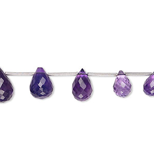 bead, amethyst (natural), dark, 8x5mm-12x8mm graduated hand-cut faceted briolette, b grade, mohs hardness 7. sold per 19-piece set.