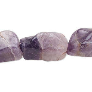 bead, amethyst (natural), medium-large hand-cut rectangle nugget, mohs hardness 7. sold per 16-inch strand.