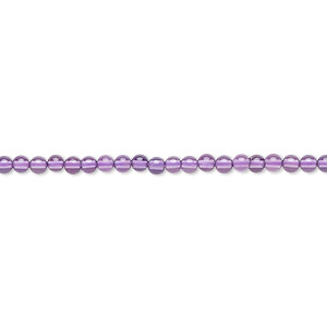 bead, amethyst (natural), medium to dark, 2mm round, b grade, mohs hardness 7. sold per 16-inch strand.