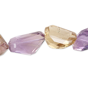 bead, ametrine / citrine / amethyst (natural / heated), small to medium hand-cut tumbled faceted freeform nugget, mohs hardness 7. sold per pkg of 10.