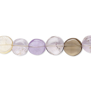 bead, ametrine (natural / heated), 8mm hand-cut puffed flat round, b- grade, mohs hardness 7. sold per 7-inch strand.