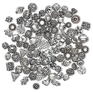bead and bead cap, antique silver-plated copper, 12x6mm-17x17mm assorted sizes in 50 styles, 2 of each style. sold per pkg of 100.