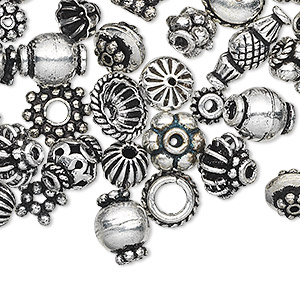 bead and bead cap, antique silver-plated copper, 4x1mm-11x5mm assorted shape. sold per pkg of 100.