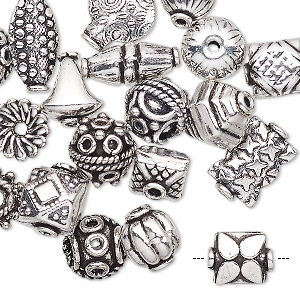 bead and bead cap, antique silver-plated copper, 8x5mm-15x10mm assorted shape. sold per pkg of 20.