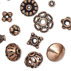 bead and bead cap, antiqued copper, 5x1mm-18x10mm assorted shape with 1.1-4mm hole. sold per pkg of 20.