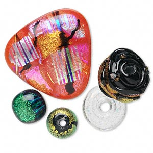 bead and cabochon mix, dichroic glass, mixed colors, 6-56mm mixed shape. sold per pkg of 5.