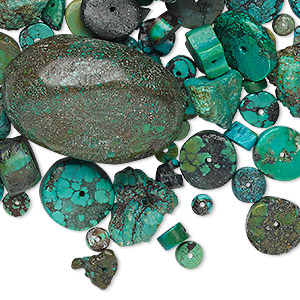 bead and cabochon mix, turquoise (dyed / stabilized), blue, 2-65mm mixed shape, c/d grade, mohs hardness 5 to 6. sold per 1/4 pound pkg, approximately 50-70 components.