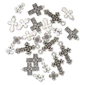 bead and drop, antique silver-plated pewter (zinc-based alloy), 12x9mm-26x17mm single- and double-sided assorted cross. sold per pkg of 25.