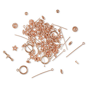 bead and finding mix, shiny copper, 2-50mm mixed shapes. sold per pkg of 50-grams, approximately 90-135 pieces.