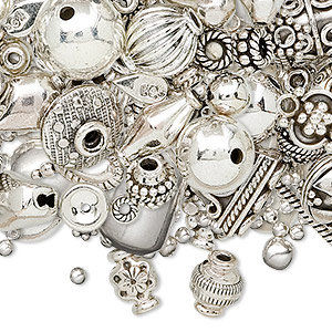 bead and finding mix, sterling silver, mixed size and shape. sold per 25-gram pkg, approximately 25-40 pieces.