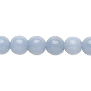 bead, angelite (natural / waxed), 10mm round, b grade, mohs hardness 3 to 3-1/2. sold per 16-inch strand.