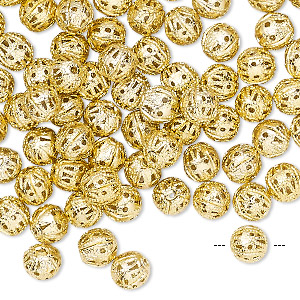 bead, anodized aluminum, gold, 6mm filigree round. sold per pkg of100.