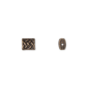 bead, antique brass-finished pewter (zinc-based alloy), 6x5.5mm rectangle with celtic knot design and 0.7mm hole. sold per pkg of 24.