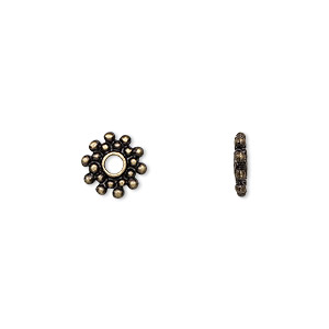 bead, antique brass-finished pewter (zinc-based alloy), 9x2mm rondelle with dots, 2mm hole. sold per pkg of 24.