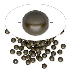 bead, antique brass-plated brass, 3mm round. sold per pkg of 100.