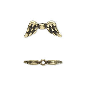 bead, antique brass-plated pewter (tin-based alloy), 20x9mm double-sided angel wings. sold per pkg of 2.