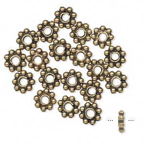 bead, antique brass-plated pewter (tin-based alloy), 7x2mm rondelle. sold per pkg of 20.
