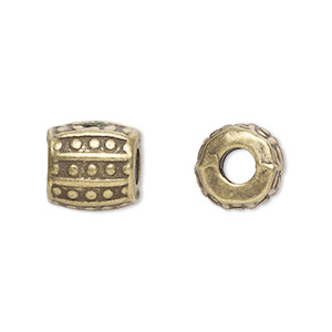 bead, antique brass-plated pewter (zinc-based alloy), 10x10mm barrel with 3.5mm hole. sold per pkg of 20.
