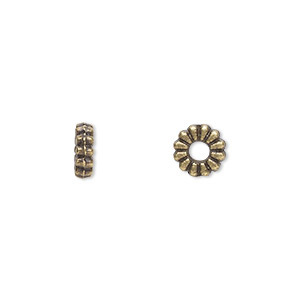 bead, antique brass-plated pewter (zinc-based alloy), 6x2mm rondelle. sold per pkg of 100.