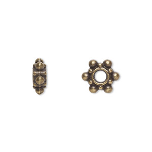 bead, antique brass-plated pewter (zinc-based alloy), 8x4mm rondelle. sold per pkg of 100.