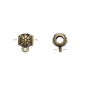 bead, antique brass-plated pewter (zinc-based alloy), 8x7mm cylinder with flower design, 3.5mm hole and closed loop. sold per pkg of 20.