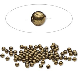 bead, antique brass-plated steel, 2.5mm round. sold per pkg of 500.