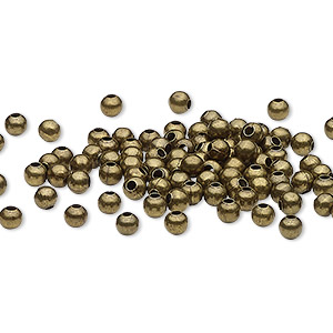 bead, antique brass-plated steel, 3mm round. sold per pkg of 100.