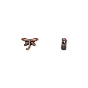 bead, antique copper-finished pewter (zinc-based alloy), 8x6mm dragonfly. sold per pkg of 24.
