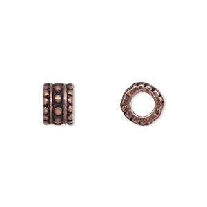 bead, antique copper-finished pewter (zinc-based alloy), 9x6mm beaded rondelle, 4.5mm hole. sold per pkg of 10.