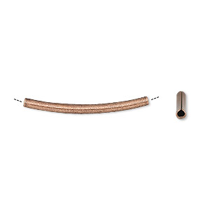 bead, antique copper-plated brass, 26x2mm curved tube. sold per pkg of 72.