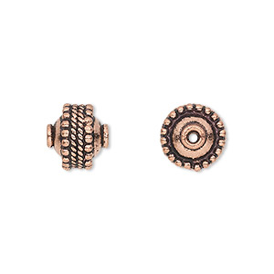 bead, antique copper-plated copper, 11x10mm rondelle with beaded and rope pattern. sold per pkg of 8.