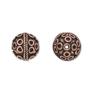bead, antique copper-plated copper, 13mm round with rope and circle pattern. sold per pkg of 6.