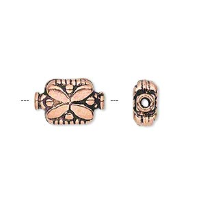 bead, antique copper-plated copper, 15x10mm double-sided rectangle with flower pattern. sold per pkg of 10.
