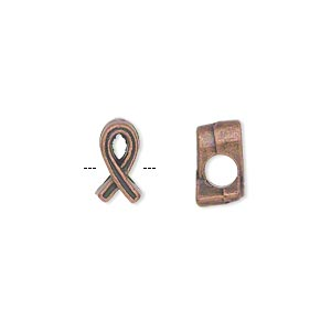 bead, antique copper-plated pewter (zinc-based alloy), 11x6mm double-sided awareness ribbon with 4mm hole. sold per pkg of 20.