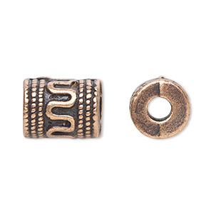 bead, antique copper-plated pewter (zinc-based alloy), 13x10mm fancy cylinder, 4mm hole. sold per pkg of 20.
