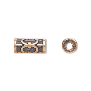 bead, antique copper-plated pewter (zinc-based alloy), 13x6mm fancy tube with 2.5mm hole. sold per pkg of 20.