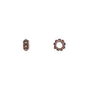 bead, antique copper-plated pewter (zinc-based alloy), 6x2mm double-sided rondelle, 2.5mm hole. sold per pkg of 500.