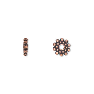 bead, antique copper-plated pewter (zinc-based alloy), 8x2mm double-sided rondelle. sold per pkg of 500.