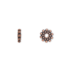 bead, antique copper-plated pewter (zinc-based alloy), 8x2mm double-sided rondelle. sold per pkg of 50.