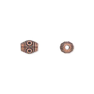 bead, antique copper-plated pewter (zinc-based alloy), 8x6mm fancy barrel. sold per pkg of 50.