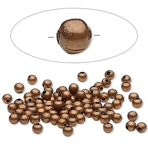 bead, antique copper-plated steel, 3mm round. sold per pkg of 100.