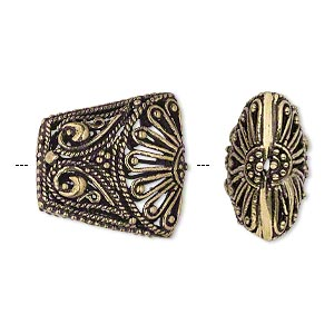 bead, antique gold-finished brass, 20x19mm fancy filigree puffed trapezoid. sold per pkg of 2.