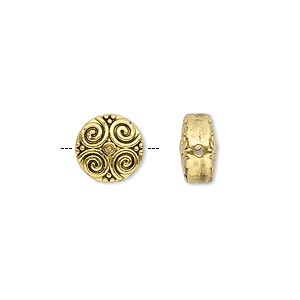 bead, antique gold-finished pewter (zinc-based alloy), 10mm double-sided flat round with spiral design. sold per pkg of 10.