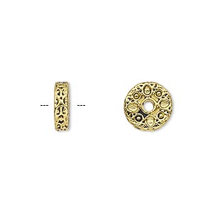 bead, antique gold-finished pewter (zinc-based alloy), 10x3mm rondelle with teardrop design. sold per pkg of 10.