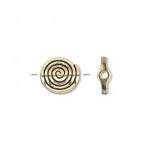 bead, antique gold-finished pewter (zinc-based alloy), 11mm flat round spiral. sold per pkg of 50.