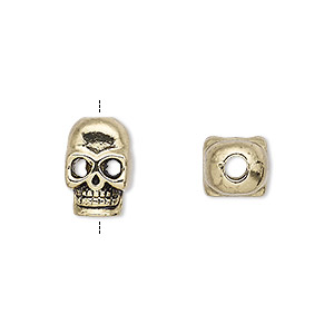 bead, antique gold-finished pewter (zinc-based alloy), 14x10mm double-sided skull with 3mm hole. sold per pkg of 6.