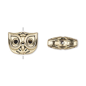 bead, antique gold-finished pewter (zinc-based alloy), 15x12mm owl face. sold per pkg of 4.