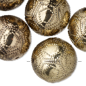bead, antique gold-finished pewter (zinc-based alloy), 21mm hollow round with pentagon pattern. sold per pkg of 6.