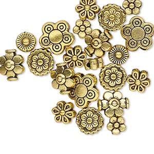 bead, antique gold-finished pewter (zinc-based alloy), 5x5mm-10x10mm assorted flower. sold per pkg of 24.